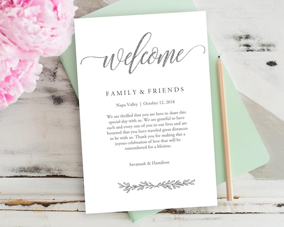 Wedding Welcome Bag Note Wedding Calligraphy Welcome Bag Etsy