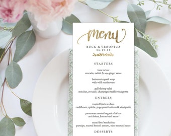 "Wedding Menu Printable   Printable, Dinner Menu, Editable, Template, Instant Download, Wedding, Calligraphy, Custom   4x9"" No. EDN 5114 Gold"