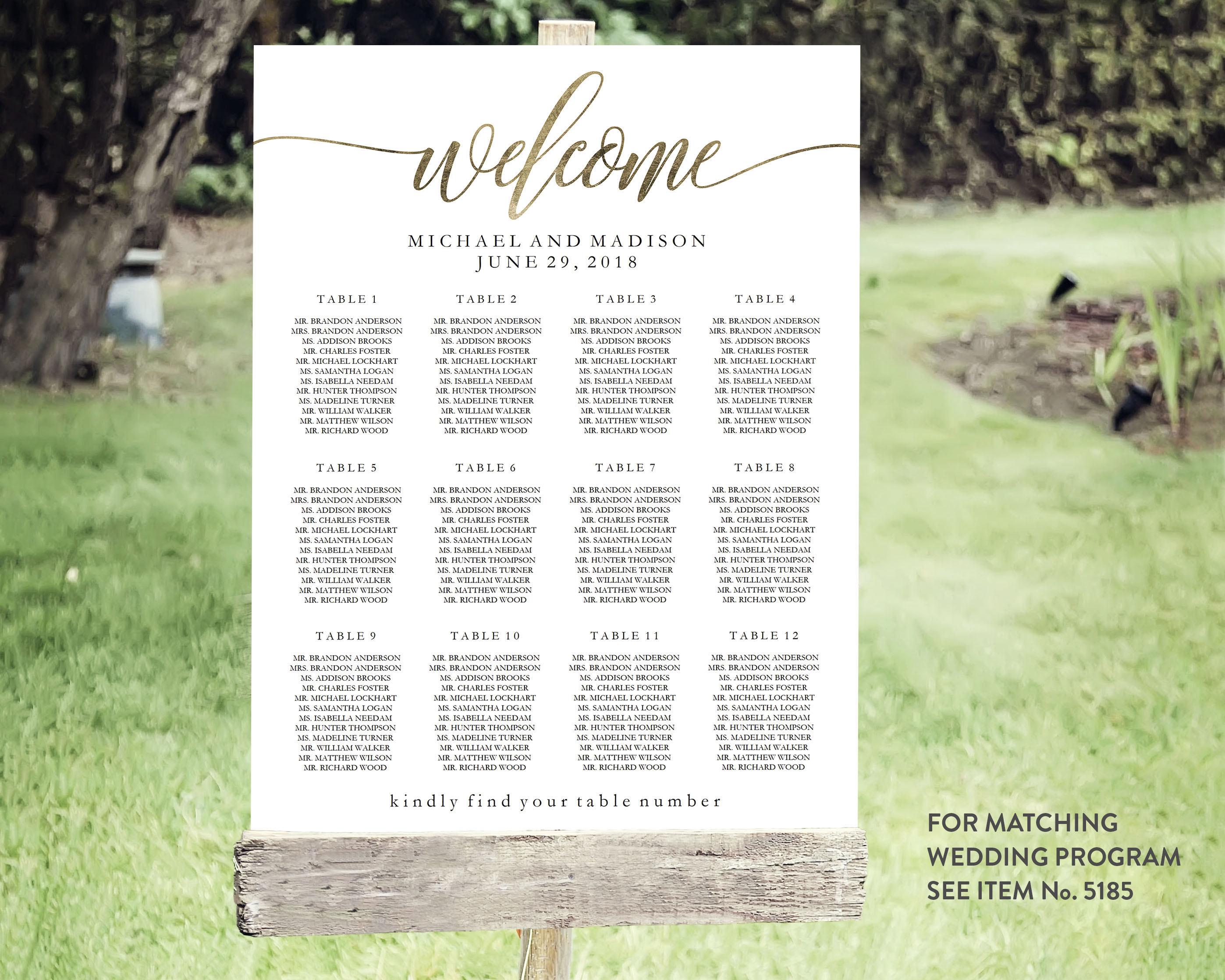 Wedding Seating Chart Template Editable Pdf Printable Etsy