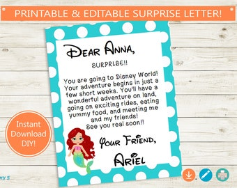 graphic regarding You're Going to Disney World Printable identified as Printable and Editable Holiday Describe Disney Letter Adobe Etsy