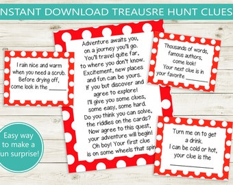 photo about Printable Clue Game Cards known as Scavenger hunt Etsy