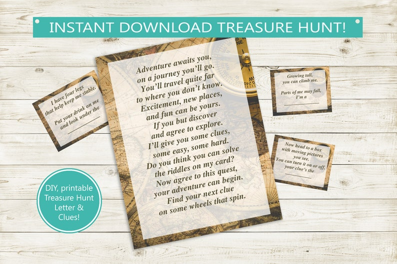photo regarding Printable Clue Board Game Cards identified as Printable Treasure Hunt Letter Clues // prompt down load PDF, Explorer, question scavenger hunt, get together match birthday pdf report scavenger