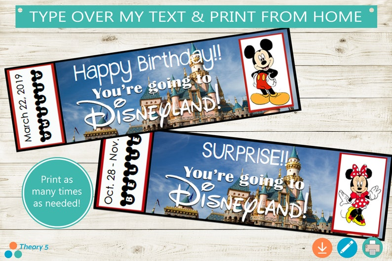 photo relating to You're Going to Disneyland Printable named Printable and Editable Tickets toward Disneyland! Adobe editable PDF, holiday vacation make clear tickets, wonder, trip, Mickey, custom made Do-it-yourself, reward principle