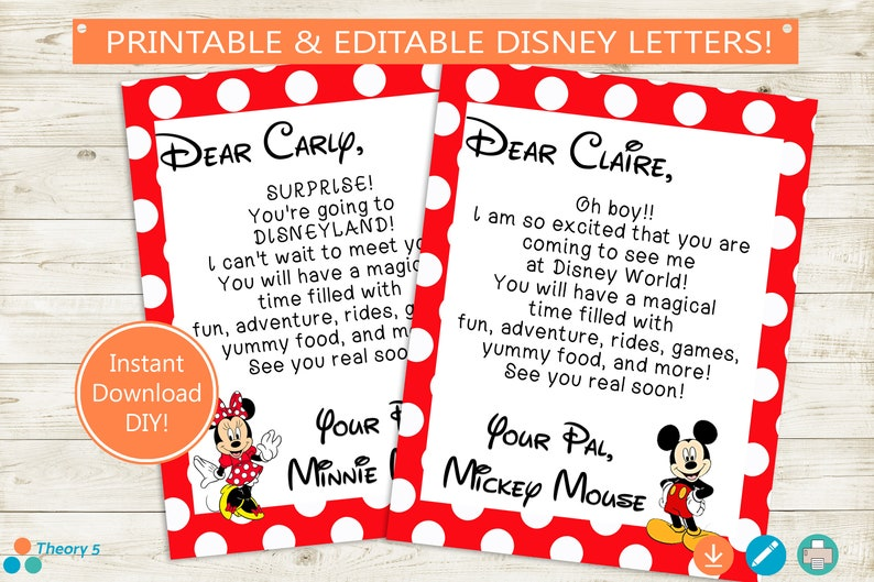 graphic about You're Going to Disneyland Printable identified as Disney Holiday Clarify Letters // Adobe Editable PDF // Disney Worldwide, Disneyland, Mickey Mouse, Minnie, observe, customized, printable, Do it yourself household