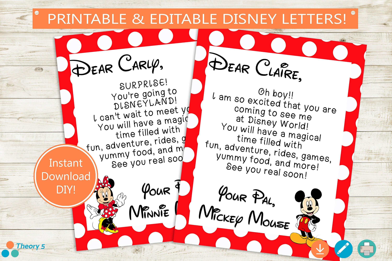 Disney Trip Reveal Letters  Adobe Editable PDF  Disney