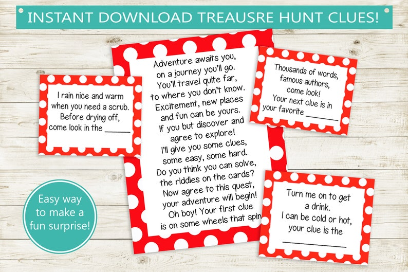 image about Printable Scavenger Hunt titled Printable Treasure Hunt Clues // fast down load PDF, polka dot video games, wonder scavenger hunt, celebration recreation birthday pdf document, rhyming clues