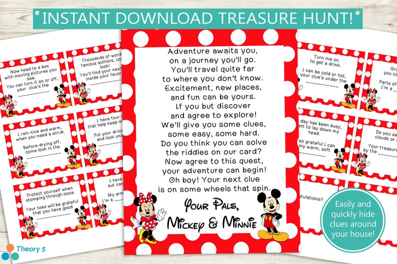 picture about Printable Treasure Hunt Clues named Printable Disney Treasure Hunt Clues // instantaneous obtain PDF, Mickey Minnie Mouse, ponder scavenger hunt, occasion match birthday pdf record