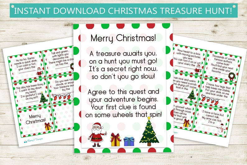 picture about Christmas Scavenger Hunt Printable Clues titled Printable Xmas Treasure Hunt Clues // prompt obtain jpg, Santa, ponder, scavenger hunt bash video game birthday print document show present