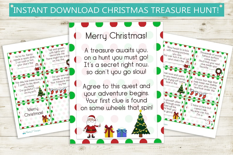 picture regarding Christmas Scavenger Hunt Printable Clues titled Printable Xmas Treasure Hunt Clues // instantaneous obtain jpg, Santa, ponder, scavenger hunt get together recreation birthday print history show reward