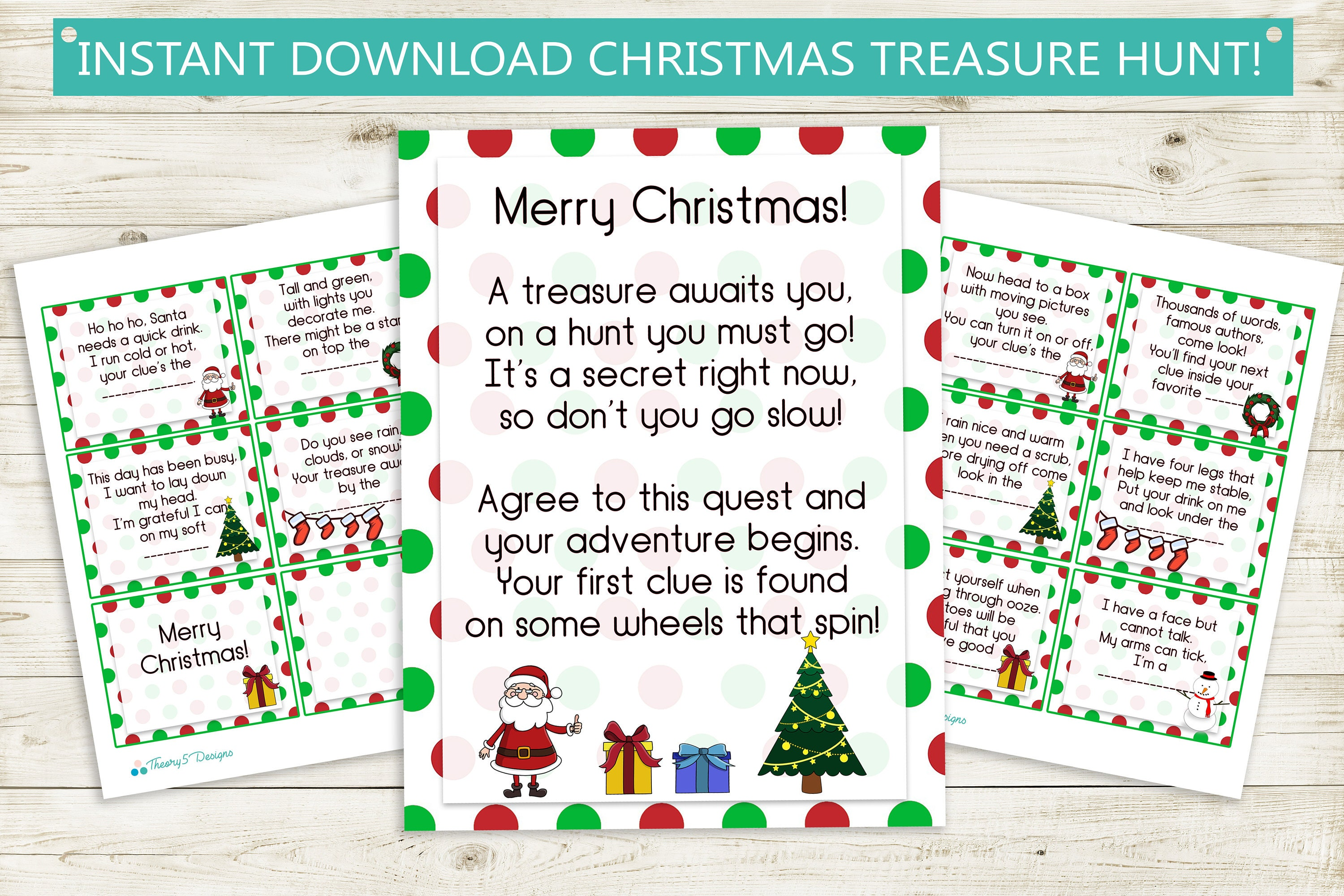 Printable Christmas Treasure Hunt Clues Instant Download