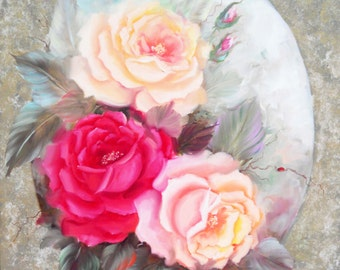 """Original Impressionistic Oil Painting, """"Rose Boquet on a Gold Background"""", Size 20 in. by 24 in."""