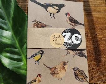 Gift Quirky Handmade NOTEBOOK Plain Page Notebook A6 British Birds British Garden Birds Birdwatcher Gift Illustrated Gift