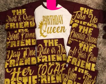 Birthday Queen Friend Shirts Squad Shirt Party Crew Jpg 340x270