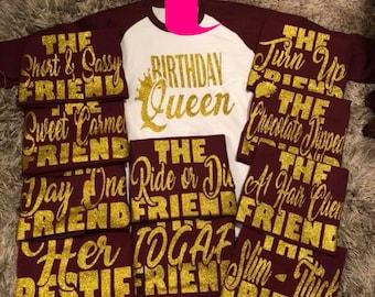 Birthday Queen Friend Shirts Squad Shirt Party Crew Jpg 340x270