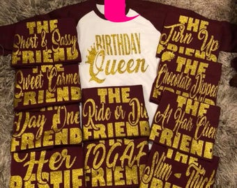 Birthday Queen Friend Shirts Squad Shirt Party Crew