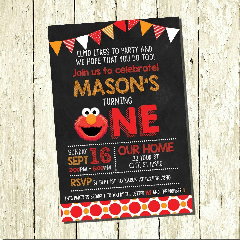 Elmo Digital Chalkboard Birthday Invitations | Etsy