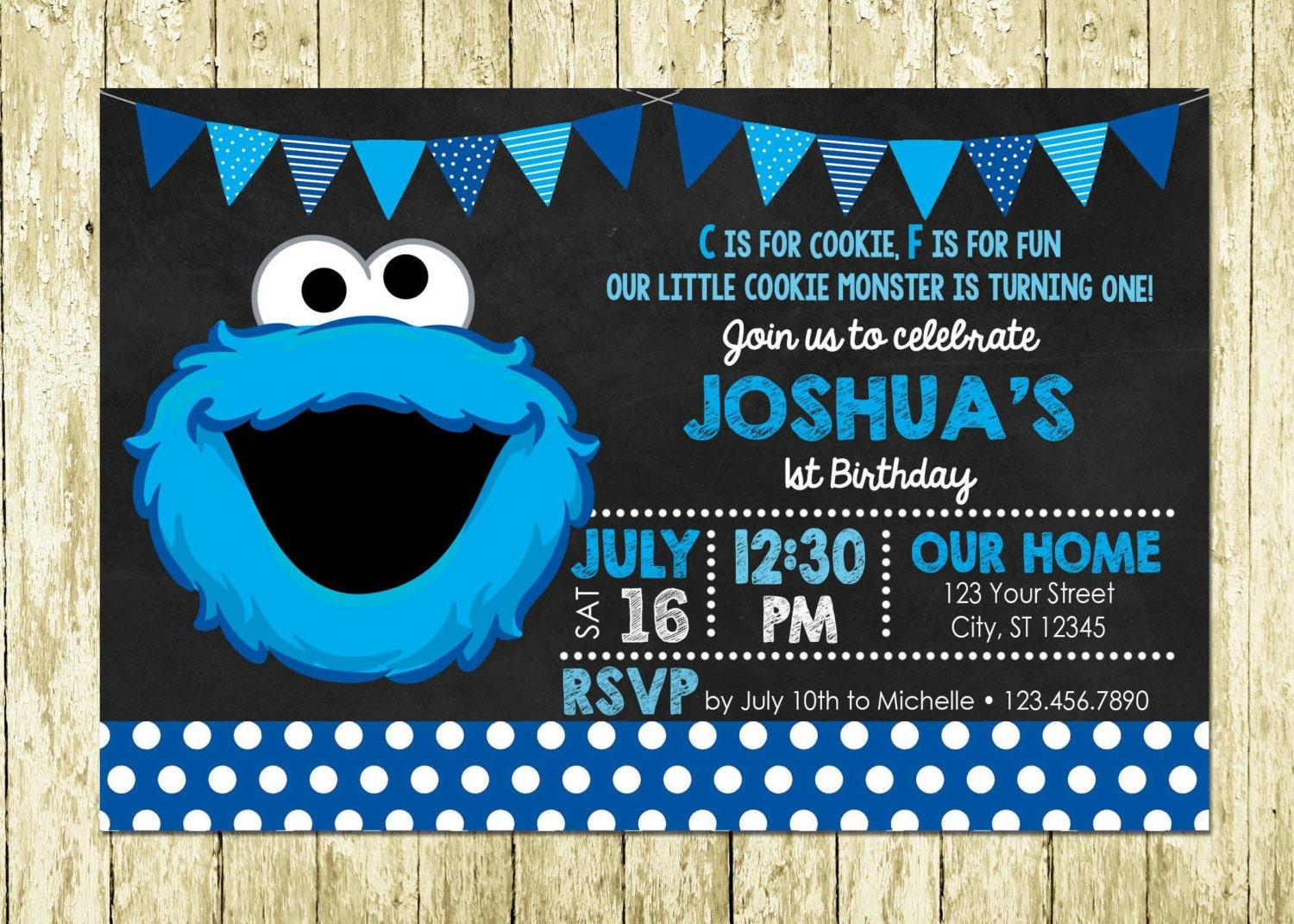 Plaza Sesamo Cookie Monster impreso invitación de pizarra