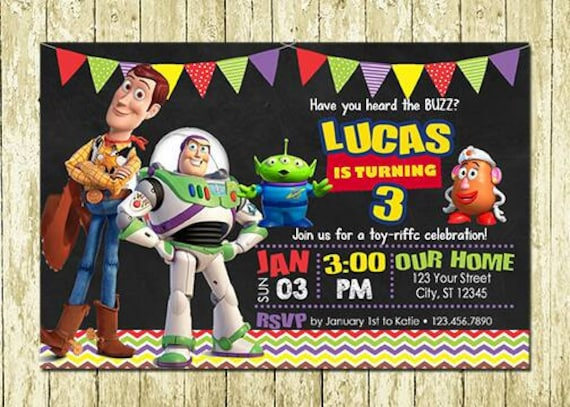 Toy Story Invitations Woody Invitations Buzz Lightyear Invitations Printed Or Digital Printable Diy Chalkboard Birthday Invitations