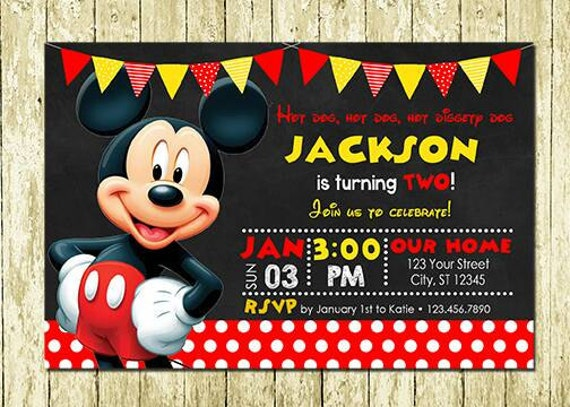 Mickey Mouse Printed Birthday Invitations
