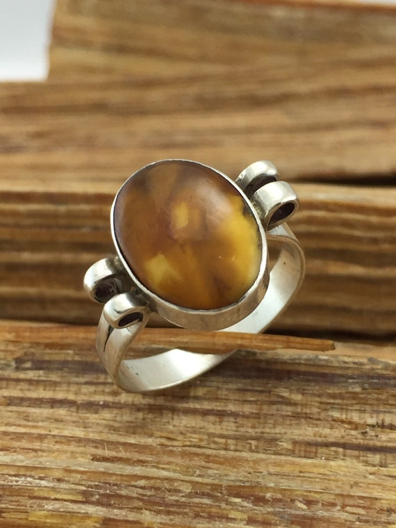 Details about  /Butterscotch Baltic Amber silver 925 ring sizes 4-12 cabochon stone size 8 mm