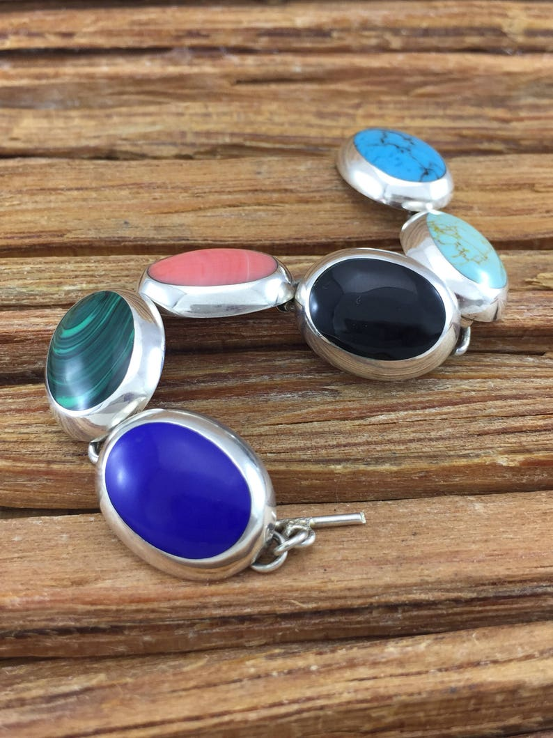 Taxco Multi Stone Sterling Bracelet 7 Turquoise Lapis Pink Coral Malachite Onyx 925 Silver Mexico Mexican Vintage Jewelry Birthday Gift