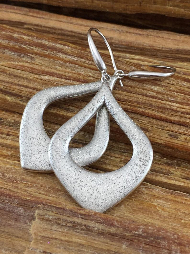 ON SALE Sterling Hoop Earrings Charles Garnier Modernist Abstract Open Pear Paris 925 Silver Pave Textured Diamond Vintage Boho Birthday Gif