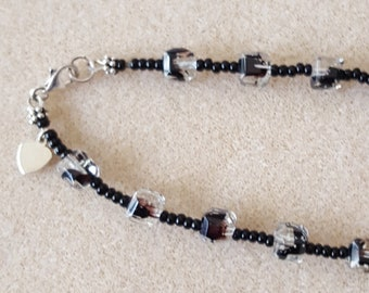 Anklet in Black with Sterling Heart
