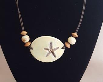 Ceramic Star with Nut Beads