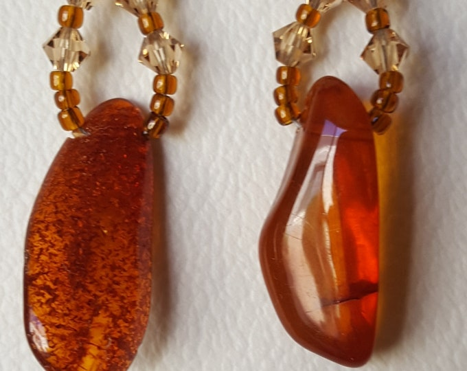 Amber and Swarovski Drop Earrings