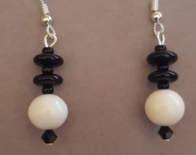 Black Onyx and Cowbone Earrings