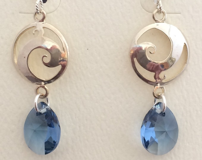 Silver Swirl with Swarovski Crystal Earrings