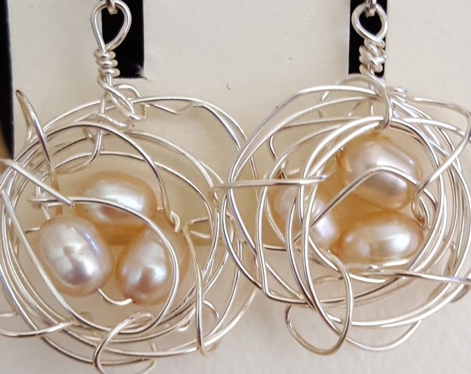 Silver and Fresh Water Pearl Birdsnest