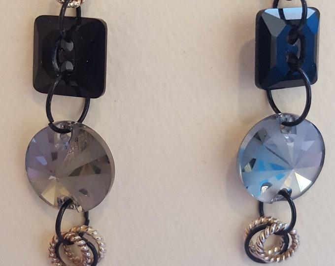 Black and Silver Swarovski Earrings