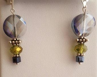 Peridot and Pale Blue Earrings