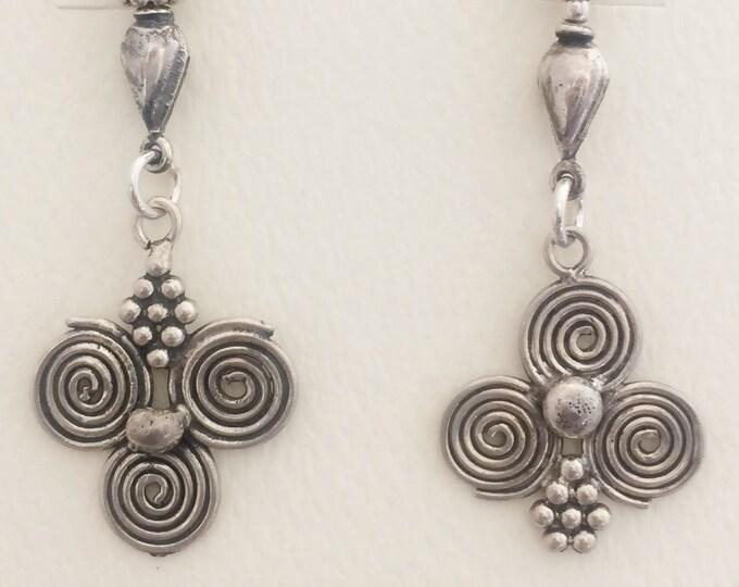 Bali Silver Spiral Drops