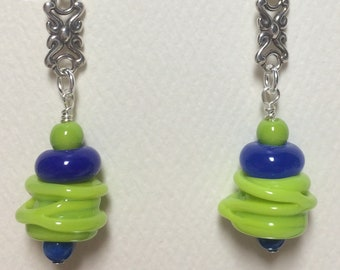 Lime Green and Navy Earrings