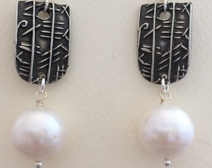 Silver Charm & Large Freshwater Pearl Earrings