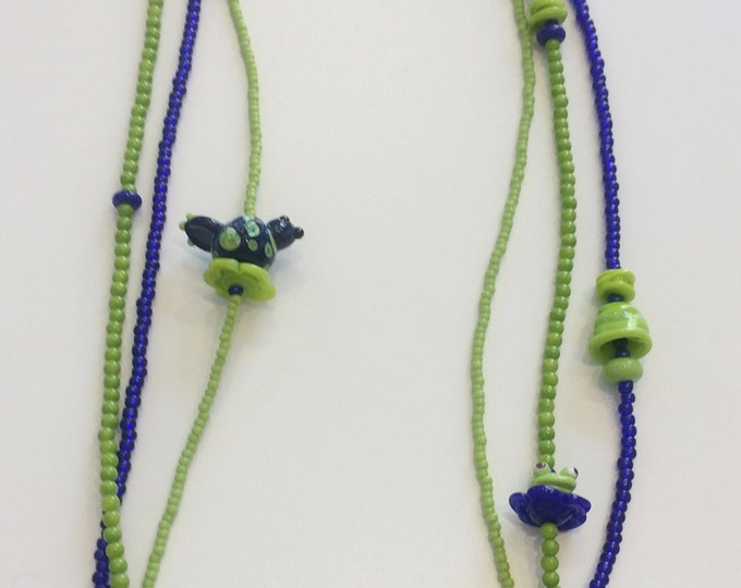 Lime Green and Navy - Birdie and Frog