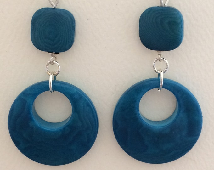 Teal Tagua Nut Earrings