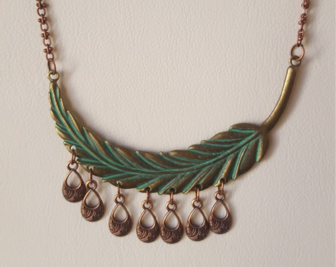Feather Verdigris Necklace with Copper Drops