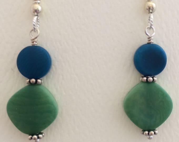 Blue & Green Tagua Nut Earrings