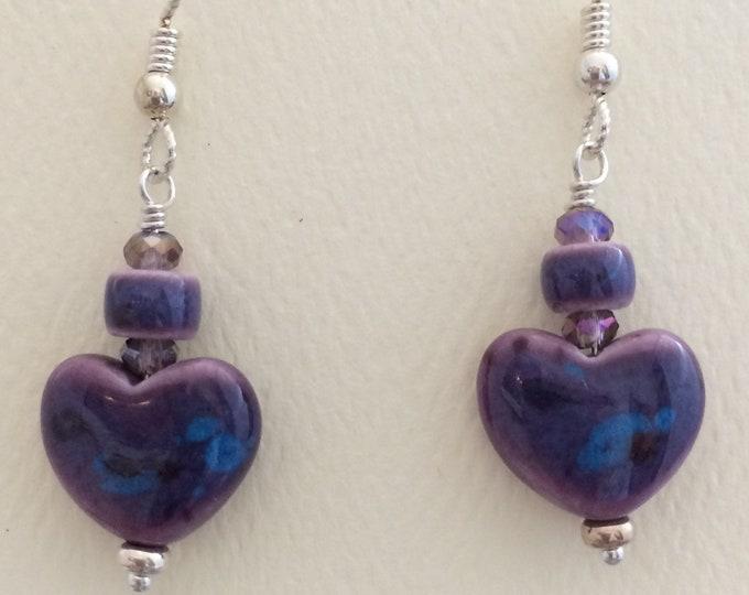 Purple Ceramic Hearts