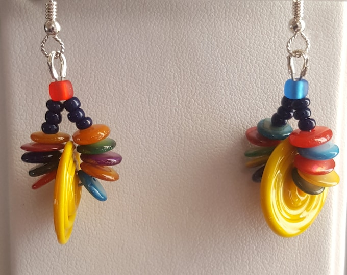Whimsical Multicolored Blown Glass Earrings