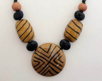 Brown and Black Kazuri Beads