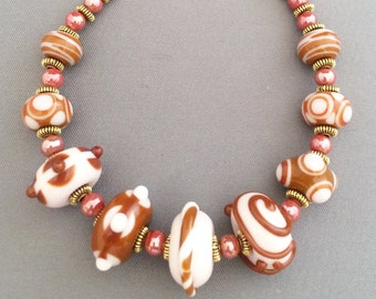 Cream & Brown Lampwork Bracelet