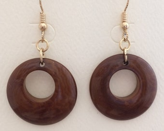 Chocolate Tagua Nut Earrings