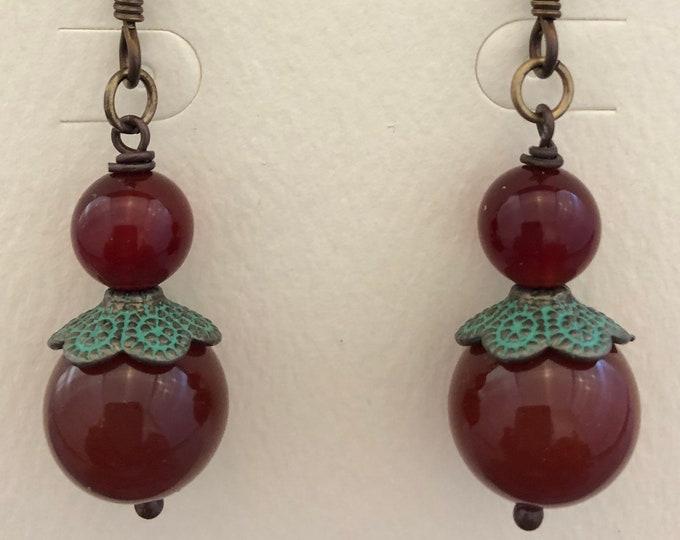 Carnelian & Verdigris Earrings