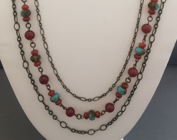Carnelian, Natural Brass, and Czech Glass