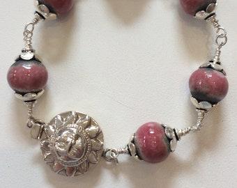 Rose & Grey Ceramic Bead Bracelet