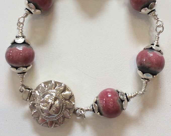 Rose & Grey Ceramic Bead Bracelet